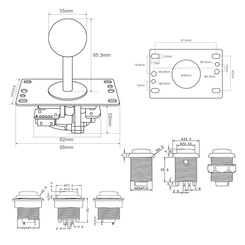 A A+,Mame Jamma /& autres Jeux de Combat Longruner kit Joystick Arcade 2 Joueurs Encodeur USB Manette Arcade PC Z/éro Retard pour Raspberry Pi3 2 Mod/èle B B