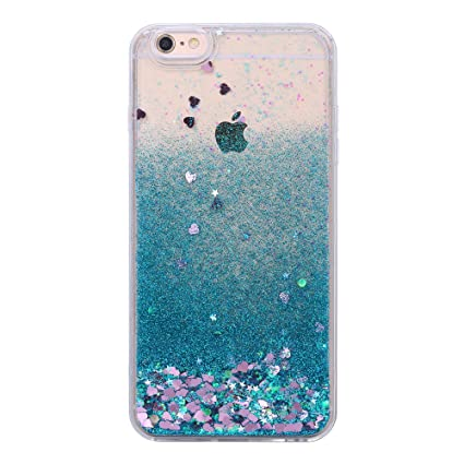 wholesale dealer 1fb8a 7b246 iPhone 6S Plus Case, Flowing Liquid Moving Bling Glitter Sparkle Floating  Dynamic Hard Case Cover for iPhone 6/6S Plus, 5.5 inch, Blue