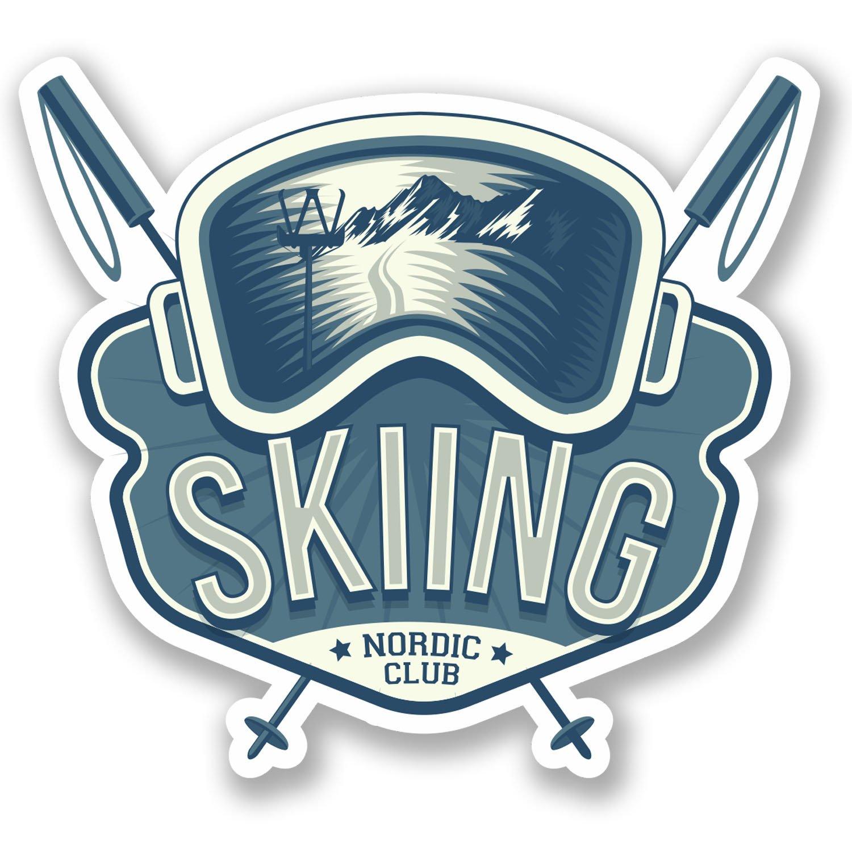 2 x Born to Ski Vinyl Sticker Laptop Travel Luggage Car #6592