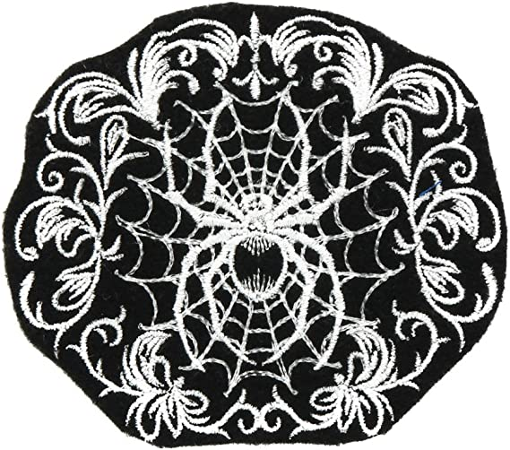 Gothic Spider Web White Lace Iron On Embroidery Patch MTCoffinz