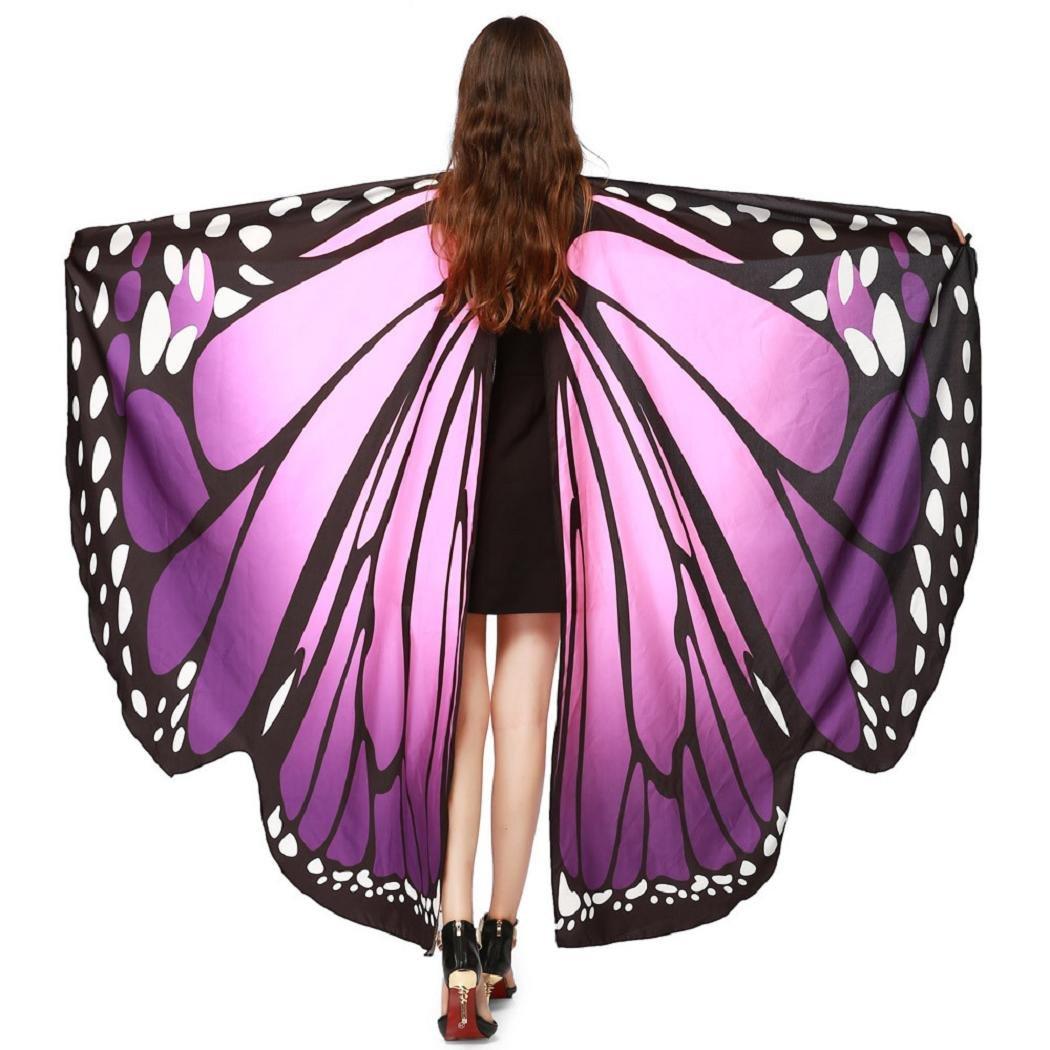 ShenPr Clearance Women Novelty Chiffon Butterfly Wings Peacock Wings Shawl Fairy Nymph Pixie Costume (02_Purple)