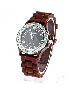 Geneva Womens Silicone Round Rhinestone Bezel Pop Color Round Analog Wrist Watch Brown