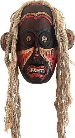 Oma African Mask Wall Hanging Decor Tribal Warrior Protection Mask African Wall Art Hand Carved Large Size 32 Clothing