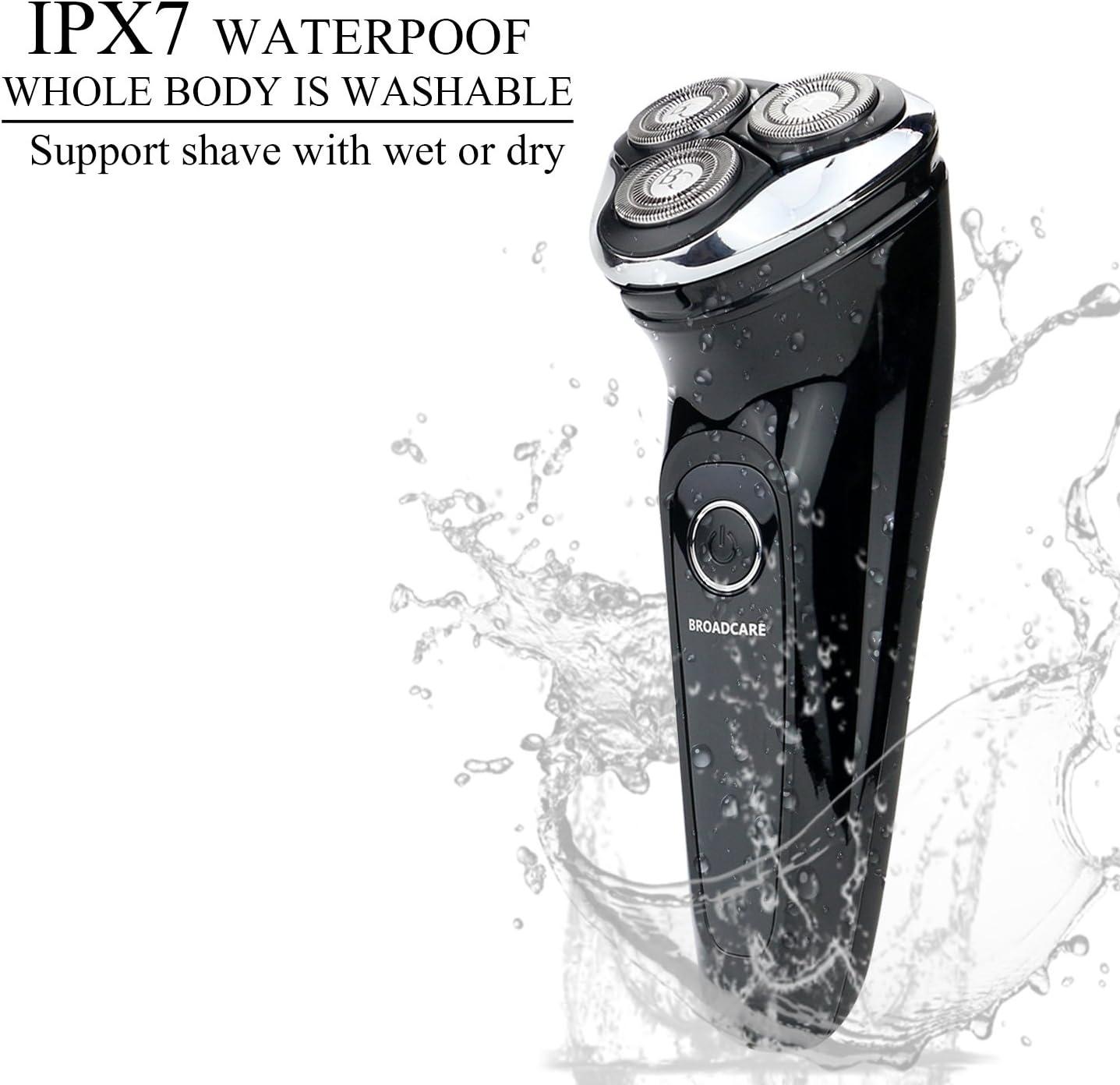 BROADCARE Máquina de Afeitar Eléctrica IPX7 Impermeable Afeitadora ...