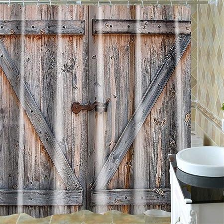 Rideau de douche 3D Rustique Pays Grange Portes Étanche ...