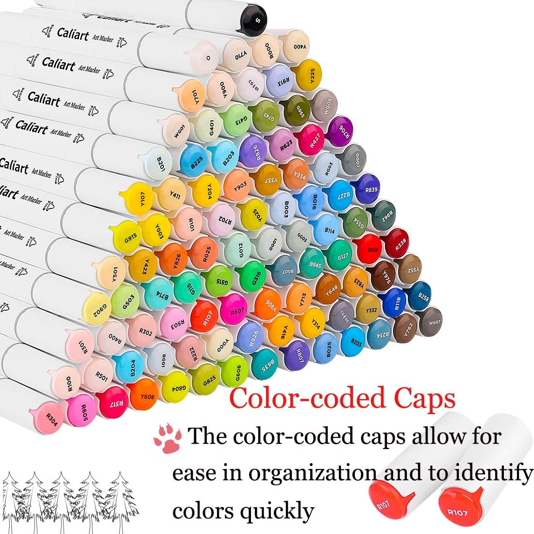 Caliart 100 Colors Artist Alcohol Markers Dual Tip Art Markers Twin Sketch Markers Pens Permanent Alcohol Based Markers with Case for Adult Kids Coloring Drawing Sketching Card Making Illustration: Arts, Crafts & Sewing