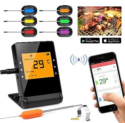 Shinmax Termómetro de Carne BBQ,Inalámbrico Digital Termómetro de BBQ, Termómetro de Cocina Bluetooth