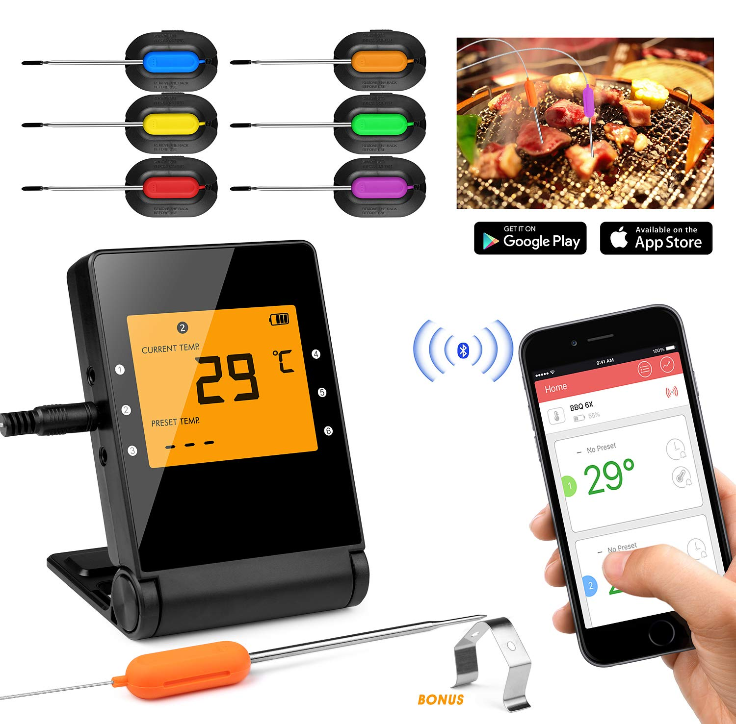 Meat Thermometer,Basecamp Wireless BBQ Thermometer,Bluetooth Smartphone Meat Thermometer with 6 Stainless Steel Probes Remote Monitor for Grilling, Cooking Kitchen Oven, for IOS & Android
