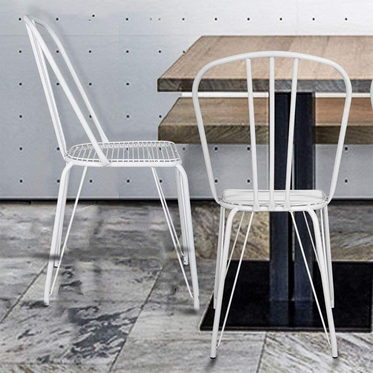 Merax Metal Dining Chairs 18 Inches High Back Dining Side Chairs,Stackable Stencil Wire Seat Chair for Bistro/Cafe/Kitchen/Dining Room, White Indoor-Outdoor Metal Chair Set of 2