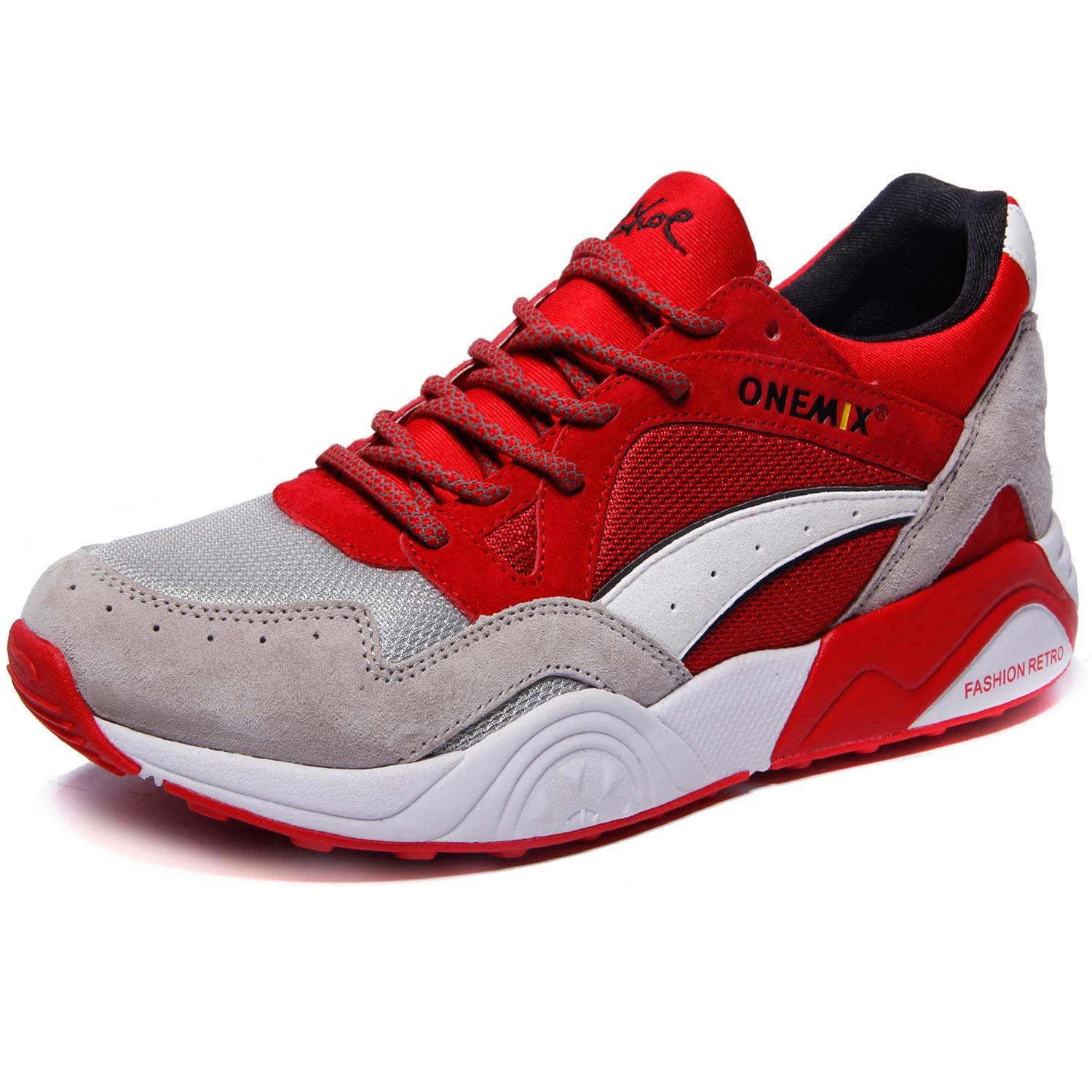 ONEMIX Men's Fashion Sneakers Casual Retro Breathable Running Shoes Grey/Red45