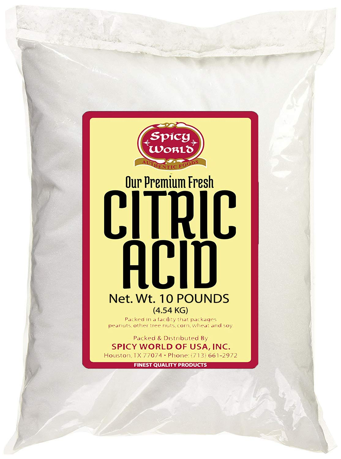 Pure Citric Acid, 10 Pound - Food Grade & Non-GMO- Natural Food Preservative, All Purpose Cleaning Agent, Beauty Ingredient- by Spicy World
