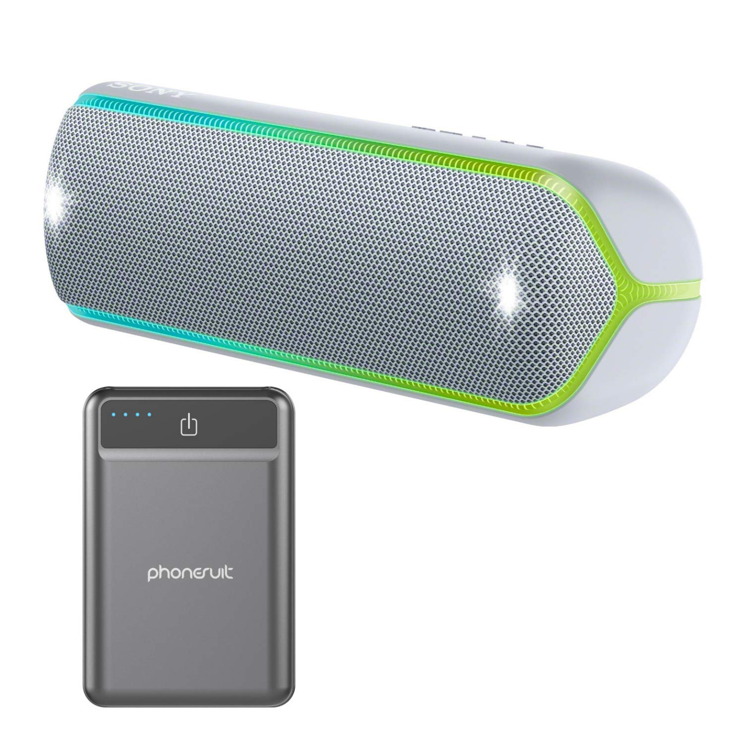 Sony XB32 Extra Bass Portable Bluetooth Speaker (Grey) with Ultra Portable 5,000 mAh Battery Pack (2 Items) by Sony