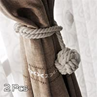 A Pair of Hand Knitting Curtain Rope Clips Holder Curtain Tie Back with Single Ball