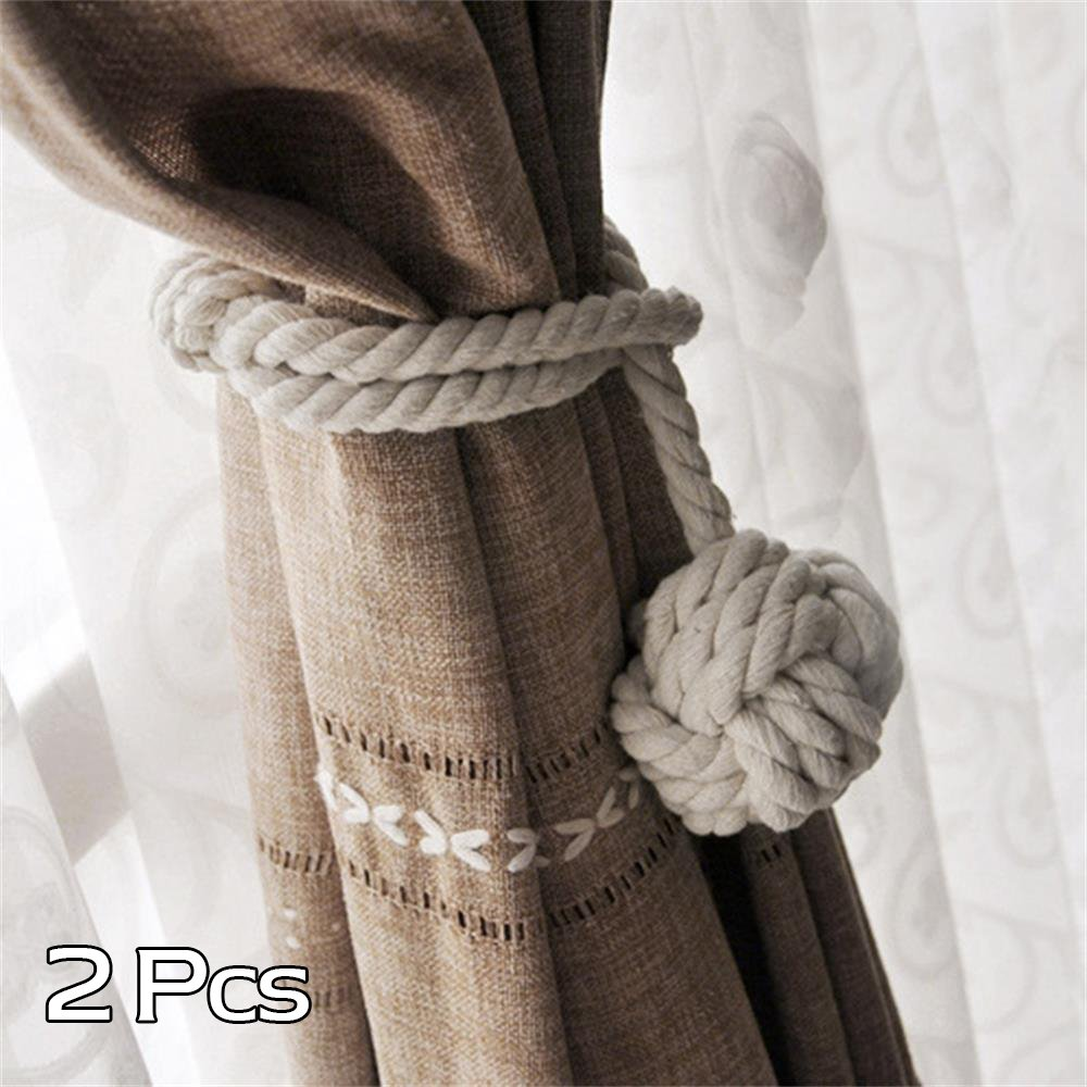 A Pair of Hand Knitting Curtain Rope Clips Holder Curtain Tie Back with Single Ball (Beige) Sifeier
