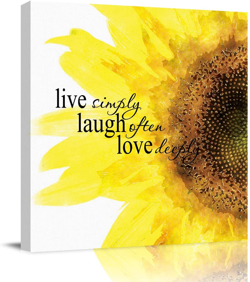 Wall Art Canvas Paintings Quote Live Simply Laugh Often Love Deeply with Sunflower Wall Decor Framed Canvas Prints Ready to Hang for Living Room Office Kitchen Artwork Decor 12x12 inch