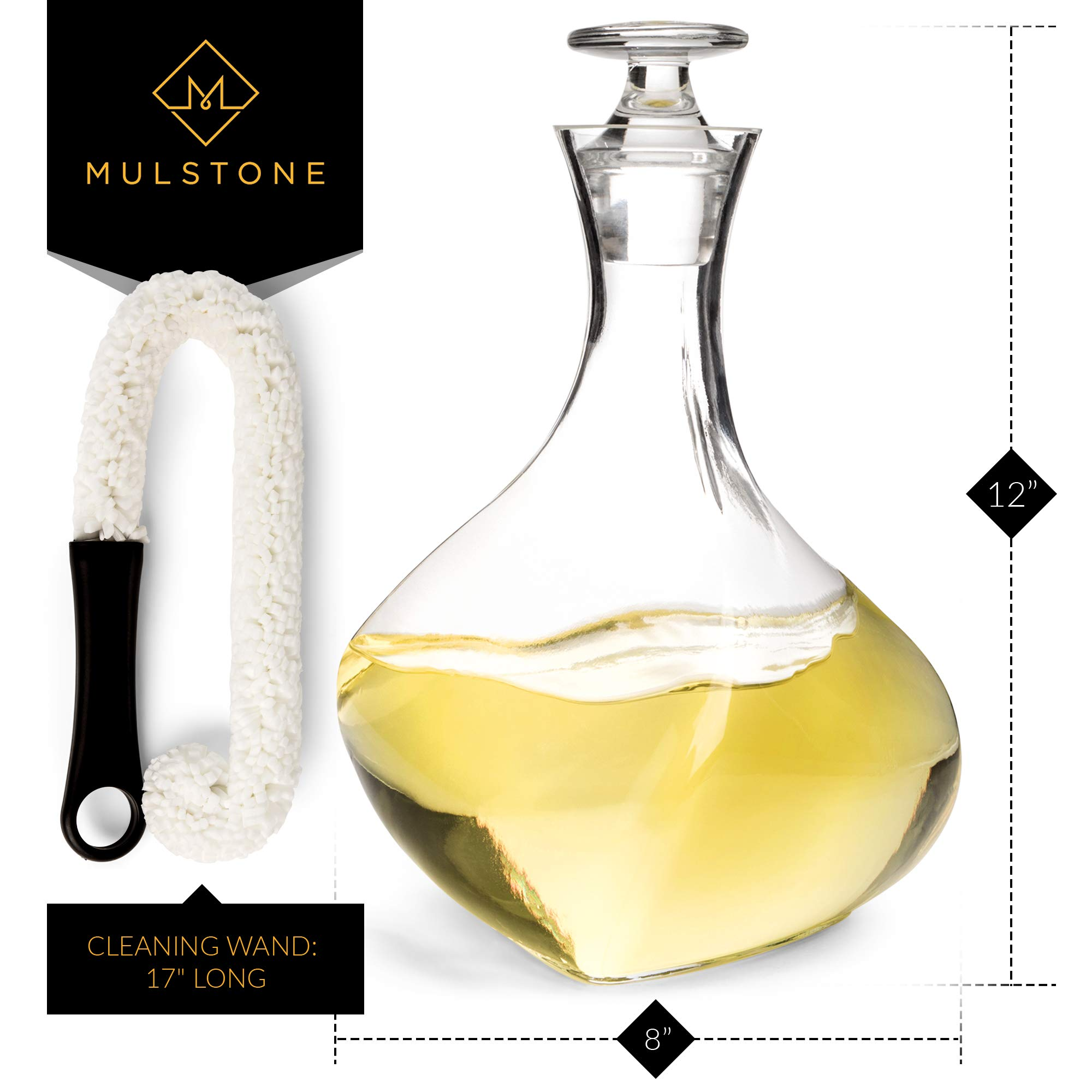 Prime Sale Day - MULSTONE - Apericena Wine Decanter & Aerating Carafe Set | 100% Lead-Free | Perfect Gift for Liquor Lovers | With Stopper & Free Cleaner | For Wines, Vodka & Whiskey