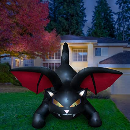 Amazon.com: Holidayana Halloween Inflatable Giant 8 Ft Spooky Cat Bat Wings  Featuring Lighted Interior/Airblown Inflatable Decoration Built in Fan  Anchor ... - Amazon.com: Holidayana Halloween Inflatable Giant 8 Ft Spooky Cat