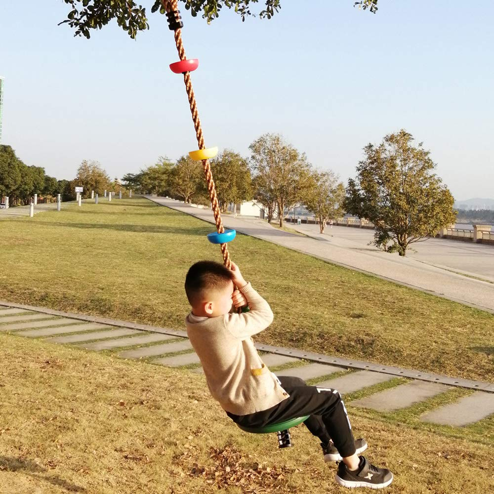 LONGTAI Climbing Rope Tree Swing Set with Multicolor Platforms and Disc Swings Seat Adjustable Swingset Accessories