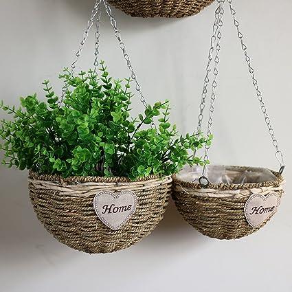 35 cm matrimoni vasi per decorazione di casa Cesto per fiori in vimini fatto a mano Miada feste per piante da appendere alla parete con manico