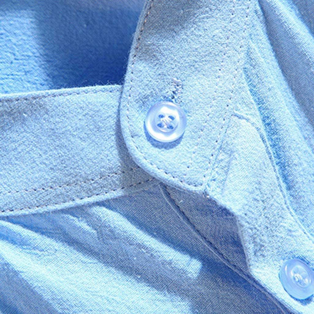 Mens Linen Shirts Three Quarter Sleeve Solid T Shirt Loose Casual Blouse with Button Pocket Front