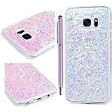 S7 Edge Cove Silicone, Custodia Bling Glitter Brillanti Interno e Morbido TPU Gomma Trasparente Protettiva Design per Samsung Galaxy S7 Edge - Luce Viola