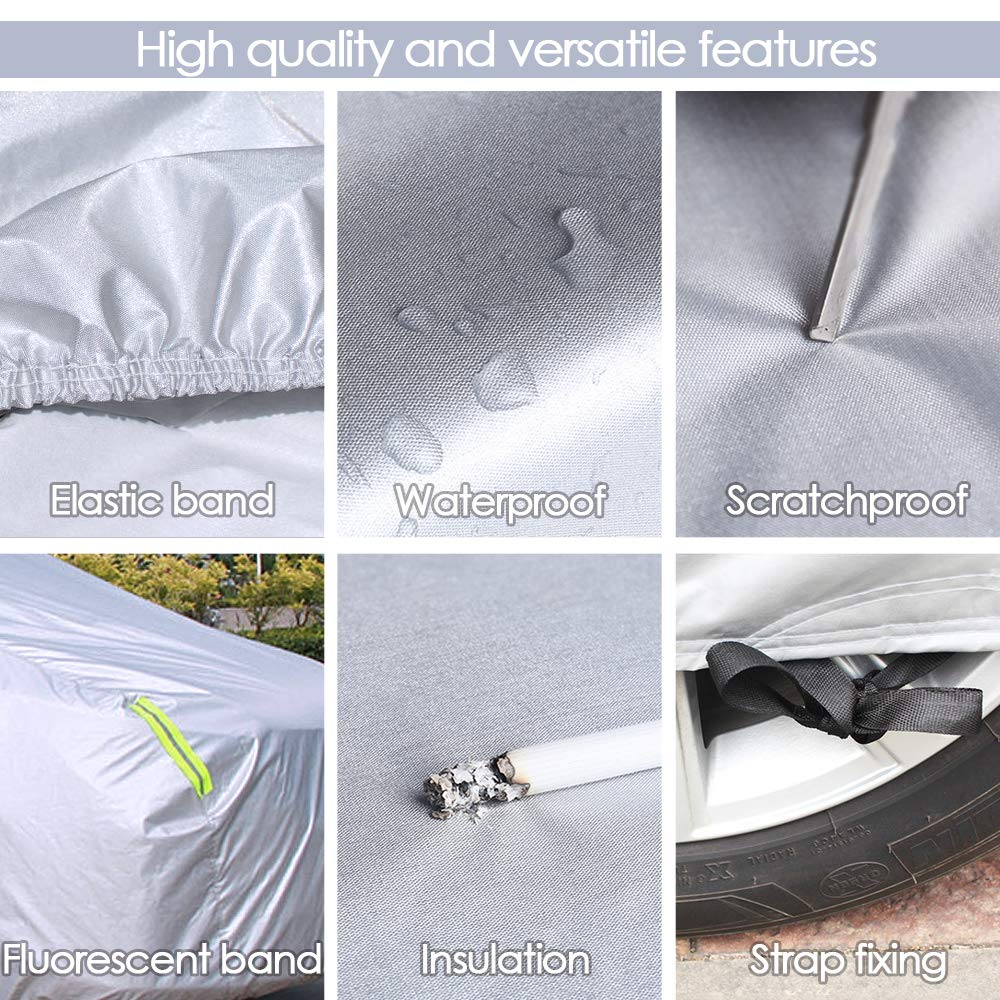 MAGEFY 4 Layers Truck Cover Universal Full Pickup Truck Covers Waterproof All Weather Outdoor UV Protection Windproof Dustproof Scratch Resistant Snowproof Pickup Cover Fit Truck Length Up to 246