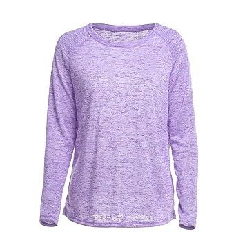 Fhuuly blusa suelta de manga larga para mujer, color sólido ...