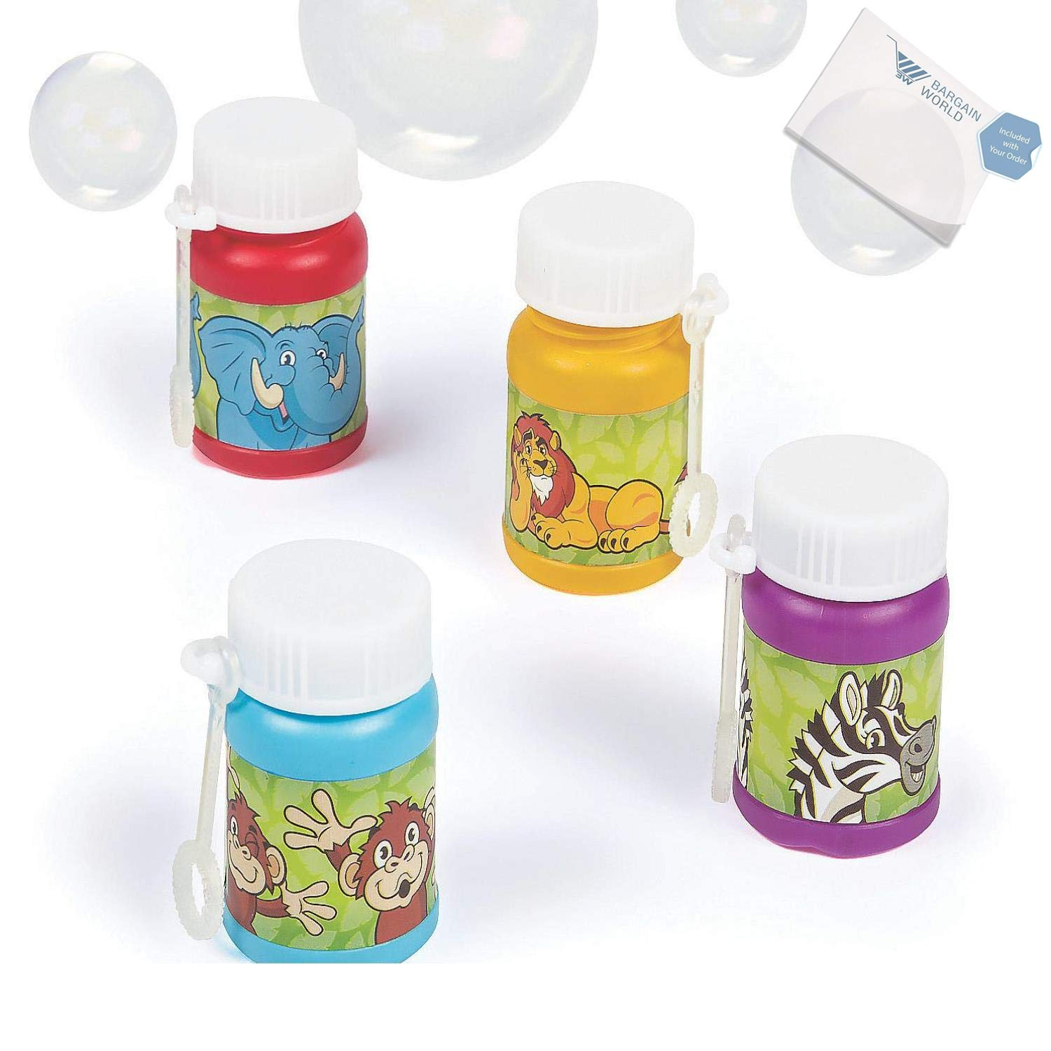 Bargain World Zoo Animal Bubble Bottles (With Sticky Notes)