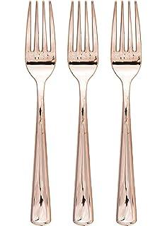 Creative Converting 315135 Metallic Plastic Forks, Rose Gold (48 Count)