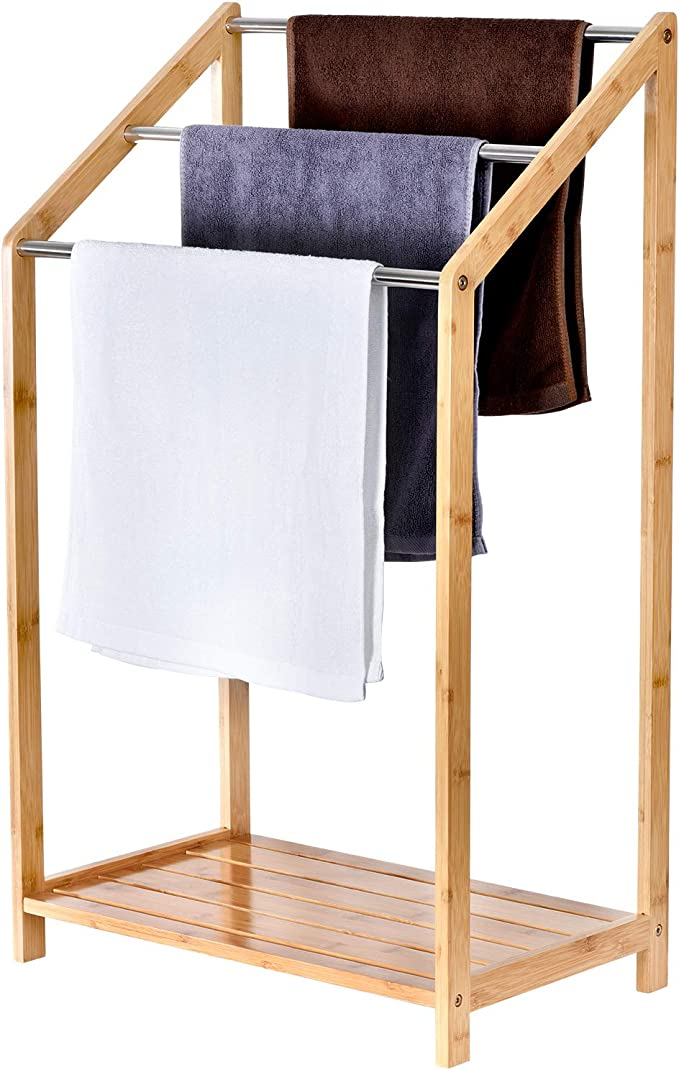 Brown 3-Tier Mind Reader Freestanding Bamboo Pool Drying Rack Quilt Stand Bathroom Towel Bar Multi-Level