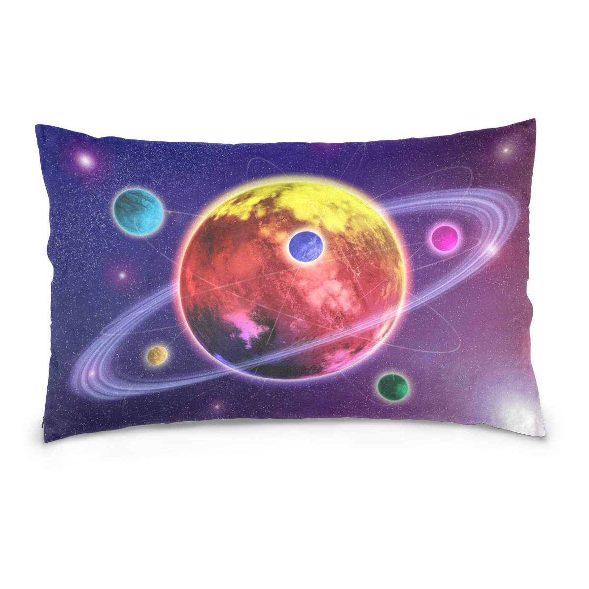 ALAZA Solar System Space Planet Satellite Cotton Lint Pillow Case,Double-sided Printing Home Decor Pillowcase Size 16''x24'',for Bedroom Women Girl Boy