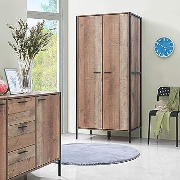Terrific Timber Art Design Stretton Urban Double Wardrobe With 2 Doors Rustic Industrial Oak Effect Bedroom Furniture Home Interior And Landscaping Ponolsignezvosmurscom