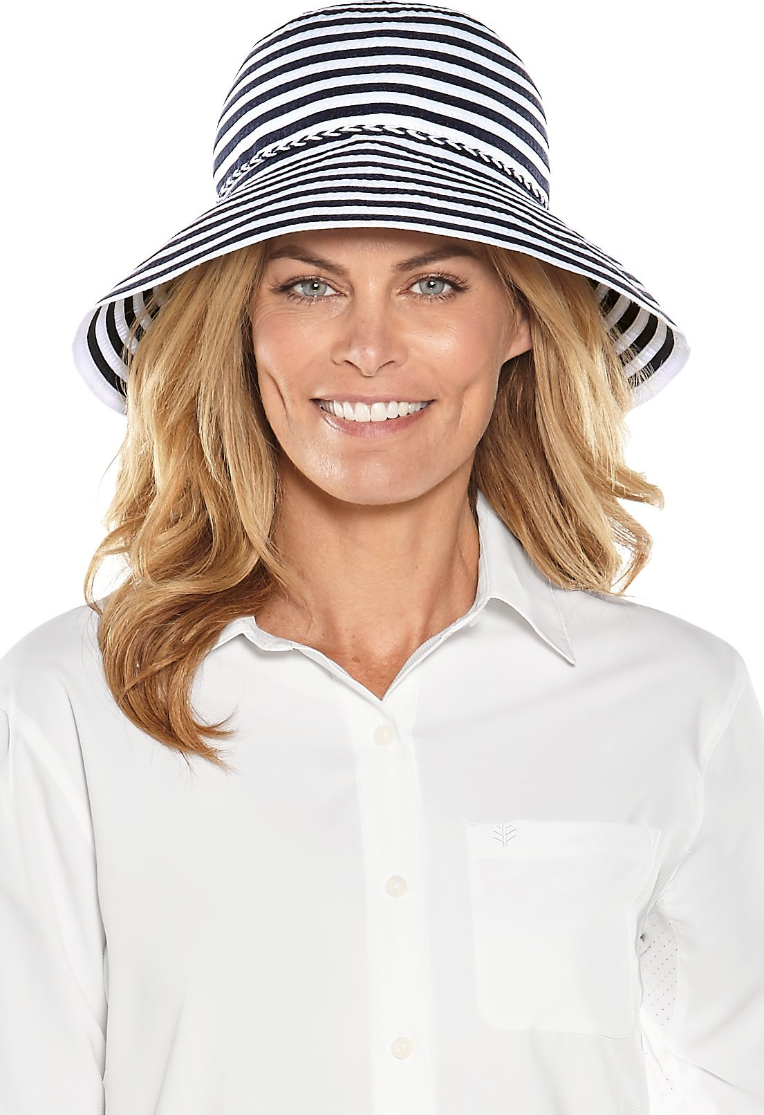 Coolibar UPF 50+ Women's Audrey Ribbon Bucket Hat - Sun Protective (One Size- Navy/White Small Stripe)