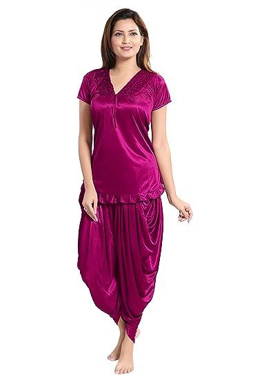 03cff79268 Romaisa Women s Satin Night Suit Top with Patiyala (PT150-329