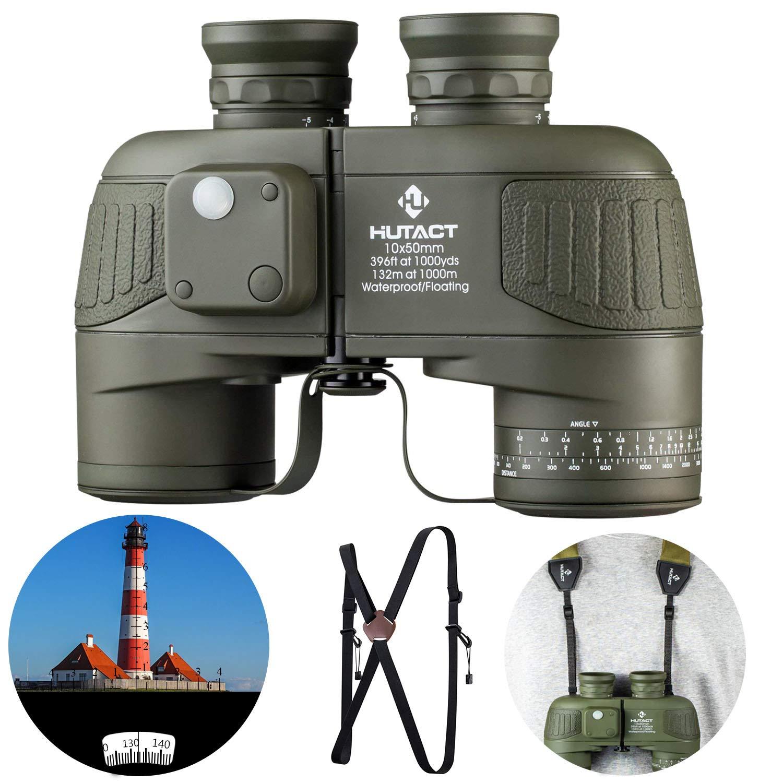 HUTACT 10x50 高倍率 コンパクトな大人向け軍用双眼鏡, バードウォッチング、内蔵型コンパスと距離計、幅広い視野、防水 BAK4 光学FMC レンズは狩猟、クロスカントリー、旅行に適しています