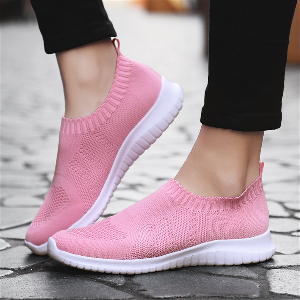 KONHILL Women's Lightweight Casual Mesh Walking Athletic Shoes Breathable Mesh Casual Running Slip-on Sneakers B07CF7RKS8 6 B(M) US|2133 Pink 500a6a