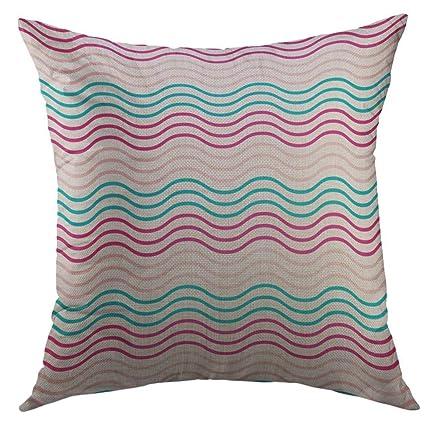Mugod Pillow Case Deep Simple Beauty Waves Pattern Blue Red Pink Gradient  Color Aqua Summer Winter 664f361c55