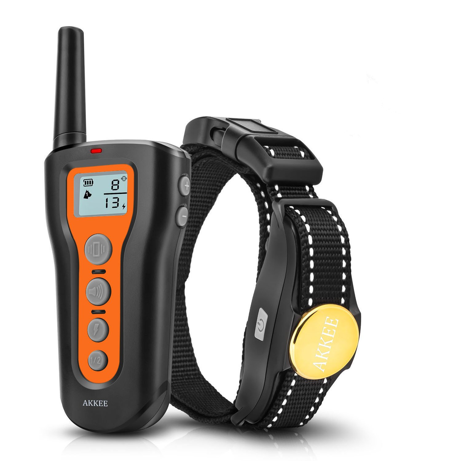 AKKEE Dog Training Collar Rechargeable & Waterproof Electric Dog Shock Collars with Remote 1000ft Range, With Beep Vibration Shock Training Mode, Pet Trainer E-Collars for Small Medium and Large Dogs