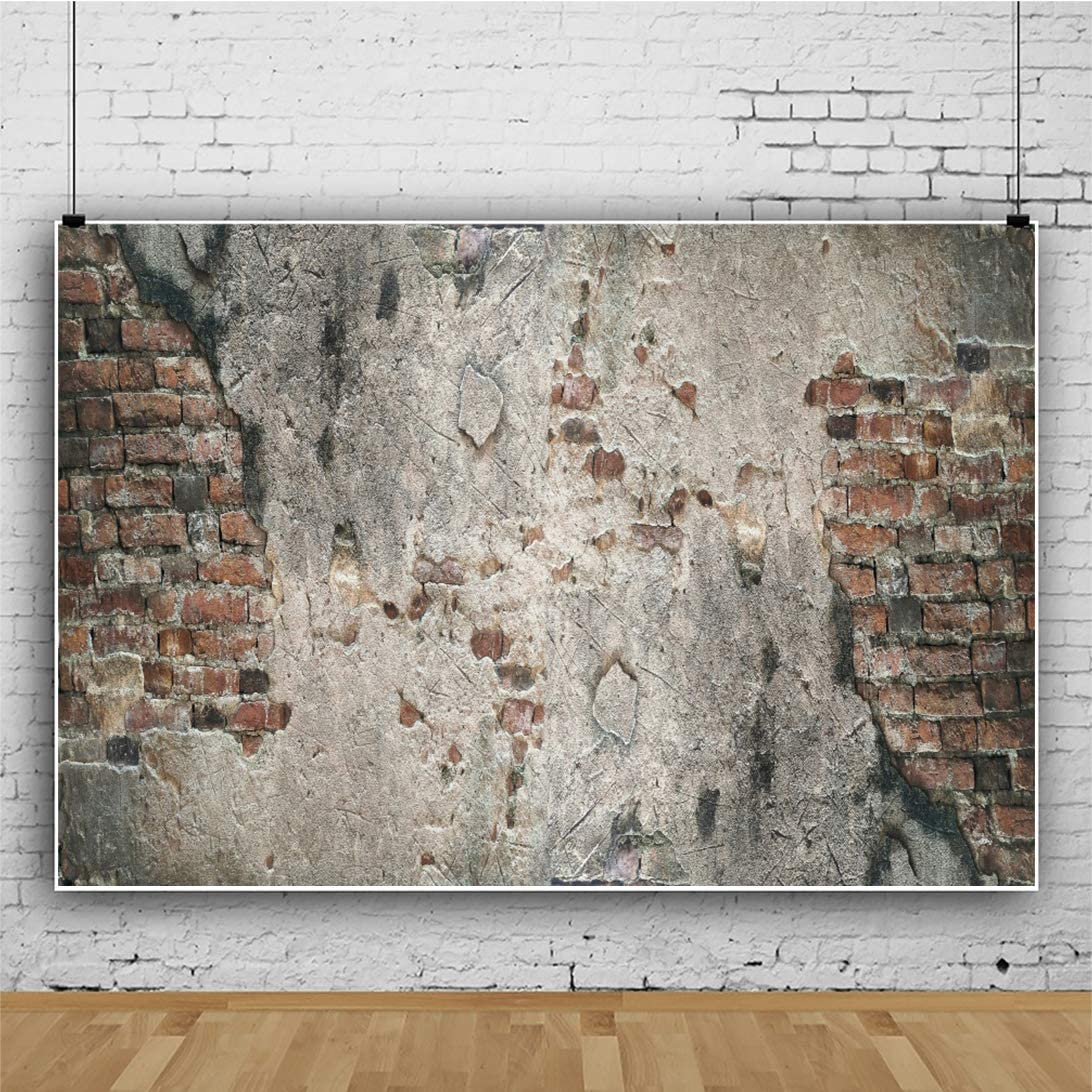 AOFOTO 7x5ft Vintage Bricks Wall Backdrop Peeled Street Gypsum Walls Texture Background Countryside Village House Photography Men Kids Birthday Party Event Celebration Photo Portrait Prop Vinyl