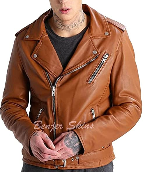 Men S Stylish Lambskin Genuine Leather Jacket 484 S Mango Tan