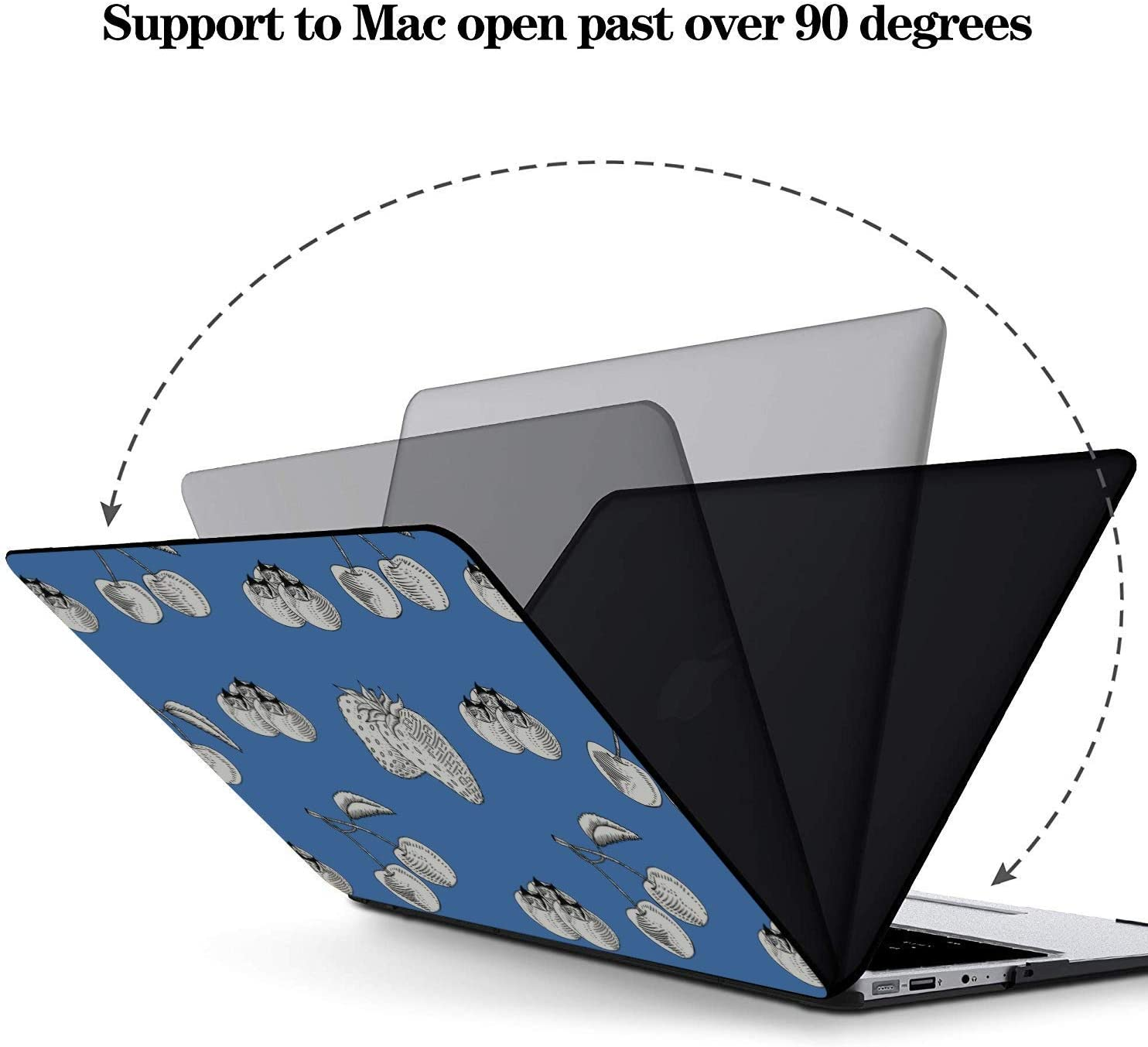 MacBook Pro 15in Case Summer Fruit Cherry Blueberry Drink Plastic Hard Shell Compatible Mac Air 11 Pro 13 15 MacBook Air Case A1466 Protection for MacBook 2016-2019 Version
