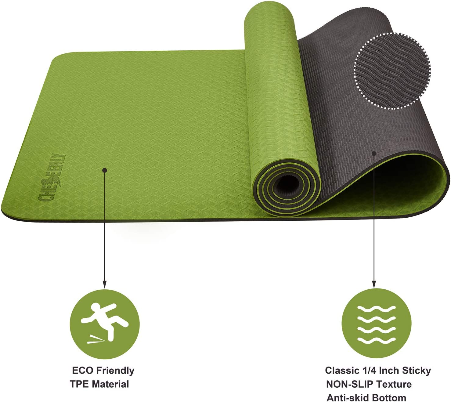 Fitness Mat for Woman 6mm Non Slip Pro Workout Mat for Yoga Pilates Chebeenly Yoga Mat Exercise Mat