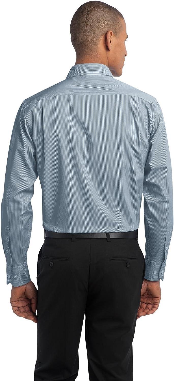 S647 Moonlight Blue//White Port Authority Fine Stripe Stretch Poplin Shirt