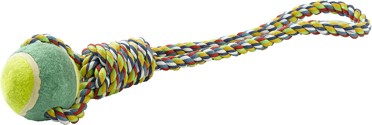 Tug and Chew P J Pet Products Rope Ring with Tennis Ball Dog Toy to Throw