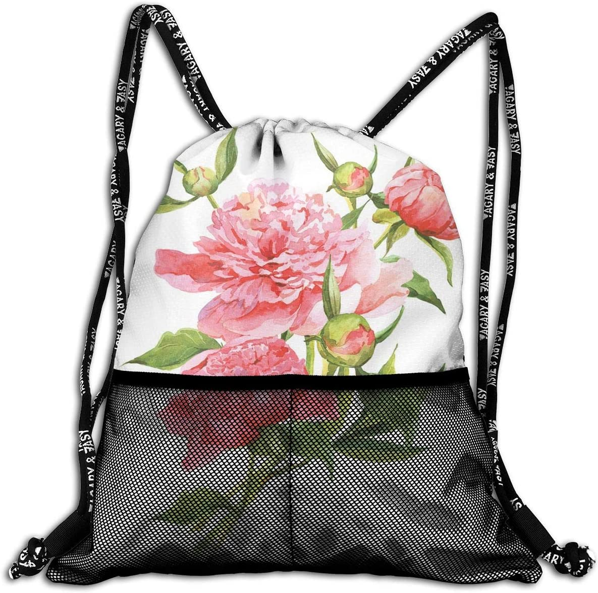 B07PBW49BK Drawstring Backpacks Bags,Pink Peonies With Strong Green Leaves Ecology Flourish Nature Inspired Bouquet,Adjustable 714uve7xafL