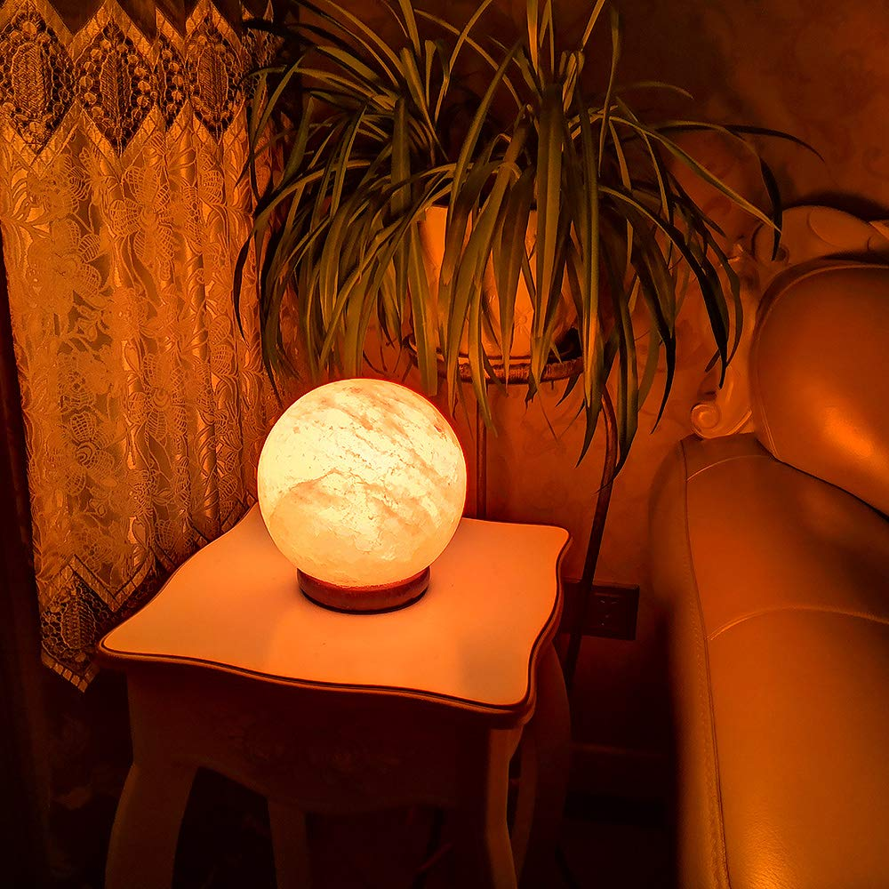 pursalt Himalayan Salt Lamp Night Light Pink Rock Salt Crystal Large Lamp Hand Carved with Taly Wood Base,2 Bulbs for Lightning,Air Purifying,Gifts, Global by pursalt (Image #6)