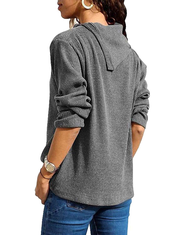 kenoce långärmad vardaglig tröja t-shirt v-ringad blus toppar solid lös tröja tunika t-shirt 02-dunkelgrau