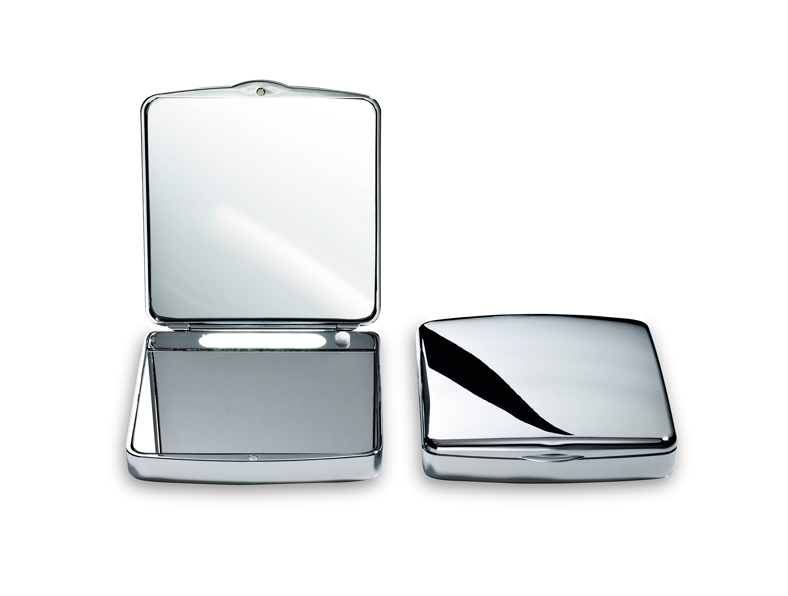 DWBA Hand Cosmetic Makeup Pocket Magnifying Mirror 7x with LED Light. Lighted Makeup Mirror. Compact Mirror. Polished Chrome