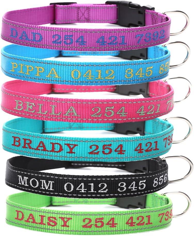Amakunft Collar reflectante personalizado para perro con nombre, nombre bordado y número de teléfono collar para mascota, collar personalizado para perros