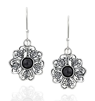 606f0bdf2 Amazon.com: Filigree Flower 925 Sterling Silver Dangle Earrings with Black  Onyx Gemstones Stylish Women's Jewelry: Jewelry